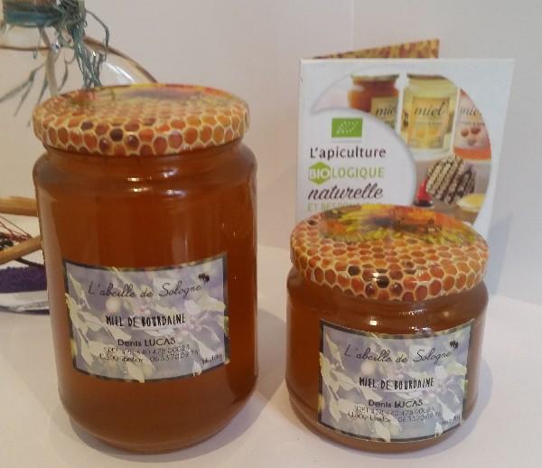 Miel de bourdaine, pots de verre de 500g et d'un Kg.