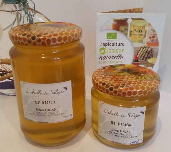 Miel d'acacia, pots en verre de 500g et d'un Kg