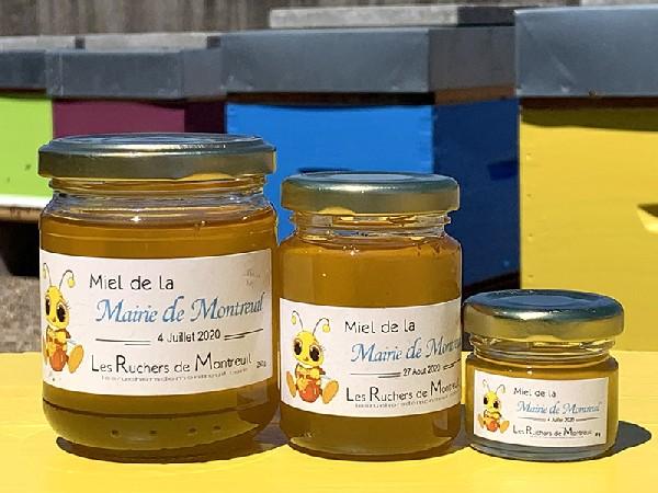 """Pots de Miel de la Mairie récolté sur le rucher de la mairie de Montreuil par l'association """" les Ruchers de Montreuil """" dès Juin de chaque année"""