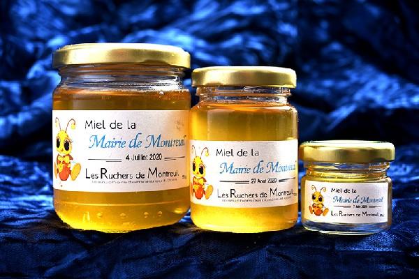 Trio Prestige de Miel Urbain de la ville de Montreuil en Seine-Saint-Denis 93100 en Ile-de-France du rucher de la Mairie des Ruchers de Montreuil